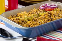 Use budget-friendly Ramen noodles to make your family an easy, cheesy, and beefy cheeseburger casserole.
