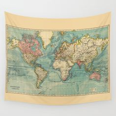 World map tapestry wall hanging dorm room decor antique map print adventure awaits world map wall tapestry gumiabroncs Choice Image