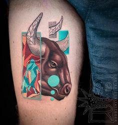 Bull tattoo ChrisRigoni abstract bull shapes color