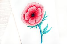 Pen Art: Red rose pen design by Sarah Jansma Pen Design, Pen Art, Leaf Tattoos, Red Roses, Watercolor Tattoo, Temp Tattoo, Watercolor Tattoos