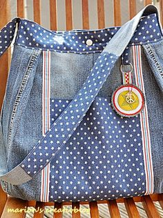♥Marions Creativblog: Gretelies, jeans bag with pockets and polka dot fabric