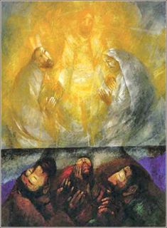 Friends for Jesus, by Sieger Köder, ca. 2005. Here Köder invokes Georges Roualt, in a brilliant depiction of earthly prayer being made divine by the Holy Spirit.