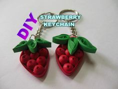 DIY ART AND CRAFT - HOW TO MAKE PAPER QUILLING STRAWBERRY KEY CHAIN(RED AND GREEN) II SUMITA CRAFTS