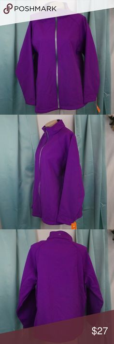 Ideology 1X Plus Size Purple Soft Shell Jacket New You have no worries about the weather with this plus size softshell jacket from Ideology, featuring wind- and water-resistant fabric and a fleece lining.  Ideology Plus size - 1X Fold-down collar Front-zip closure Zip pockets at front Water- and wind-resistant Fleece-lined Semi-fitted Polyester Machine washable  Inventory:  704543715390 - MC1-38 Ideology Jackets & Coats