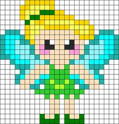 Tinkerbell Perler Bead Pattern | Bead Sprites | Characters Fuse Bead Patterns