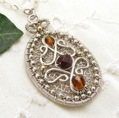 Sterling Silver Handmade Wire Wrapped Pendant Mutli Color Czech Glass
