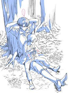 Riren!!!!! Es hermoso como esta cuidando el levi a eren es simplemente kawaiiii !!!!  >u<