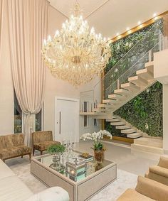 Room Chandeliers: Tips for Decorating the Room with this Item - Decoration, Architecture, Construction, Furniture and decoration, Home Deco Modern Staircase, Staircase Design, Home Deco, Home Interior Design, Interior And Exterior, Luxury Interior, House Stairs, Home Fashion, Modern House Design