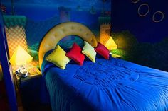 The Sonic the Hedgehog Room (© Alton Towers) Bedroom Themes, Kids Bedroom, Bedroom Decor, Bedroom Ideas, Themed Hotel Rooms, Mario Room, Video Game Rooms, New Room, Interior Design