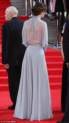 A premiere for a princess! The Duchess of Cambridge went bra-less in a semi-sheer gown by ...