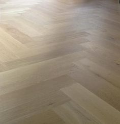 white oak herringbone floor with white stain Timber Flooring, Kitchen Flooring, Hardwood Floors, White Oak Floors, White Stain, Floor Patterns, Flooring Options, Baseboards, Floor Rugs