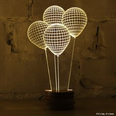 BULBING: Versatile LED Lamps that trick the eye. Isreali design atelier Studio Checha is behind this innovative LED lamp that tricks your mind into thinking it's looking at a object. BULBING is a. Lampe Decoration, Decoration Design, Table Decorations, Neon Lighting, Lighting Design, Lampe Ballon, Illusion 3d, Lampe 3d, Neon Led
