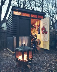 My modern 6x8 shed. Orange plexiglass windows. #shedzeppelin