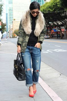 Army fatigue jacket with fur collar - Google Search