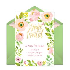 "One of our favorite free party invitations is this beautiful ""Spring Blossoms"" design. This hand-painted invitation is easy to personalize and send via email for Spring birthdays, dinner parties, bridal showers, and more! #handmade"