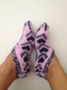 Lilac heart figure  Otantic slippers, special knitting slippers,Home slippers - OOAK-valentine's day.