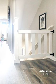 Baby Diy Furniture Fabrics 15 Ideas For 2019 Baby Gate For Stairs, Diy Baby Gate, Stair Gate, Gates For Stairs, Wood Baby Gate, Dog Stairs, Attic Stairs, Barn Door Baby Gate, Porch Stairs