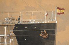 Secció longitudinal del vapor Reina Victòria Eugènia. Proa. Primera meitat s. XX. Autor desconegut. 10351 MMB