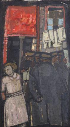 Joan Eardley – Back Street Bookie, 1952; Oil Paint, 107x59 cm | University of Edinburgh Art Collection