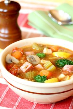 Winter is the perfect time for soup and this one can even help you to keep your New Year's  resolution.  High in protein and low in fat, this chunky soup will help you to feel full without packing on the pounds.