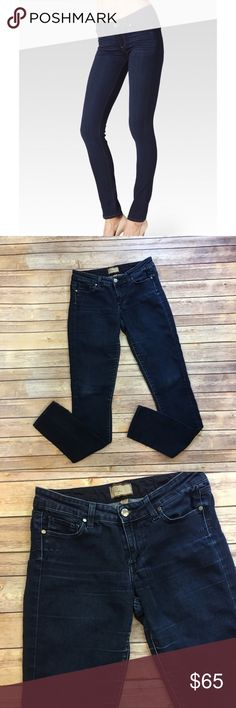 """Paige Peg Skinny Dark Wash Jeans Paige Peg Skinny Jeans Dark Wash Size 27 Front rise 8""""/ back rise 10""""  Inseam 32.5""""  Waist laying flat 15""""  B002 PAIGE Jeans Skinny"""