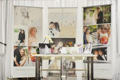 booth ideas...using screen shot canvas roll outs custom made with photos on them.