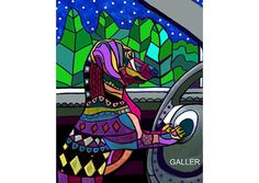 50% off - Dachshund Art Poster of Painting by Heather Galler Doxie Dachshund Driving Car