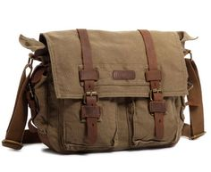 Kattee Unisex's Classic Military Canvas Shoulder Messenger Bag Leather Straps Fit 16″ Laptop (Army Green)