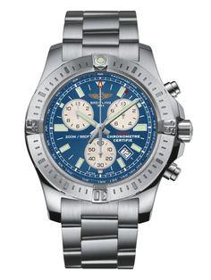 Breitling Colt Chronograph men's blue dial stainless steel bracelet watch | Fraser Hart Jewellers