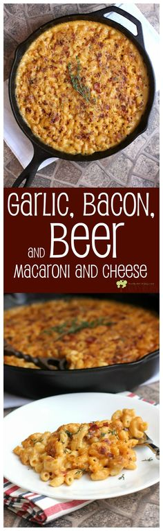 Garlic, Bacon, and Beer Macaroni and Cheese. This ridiculously good macaroni and cheese recipe, with cheddar cheese spread, bacon and . Beer Recipes, Great Recipes, Cooking Recipes, Favorite Recipes, Cake Recipes, Cheese Recipes, Recipies, I Love Food, Good Food
