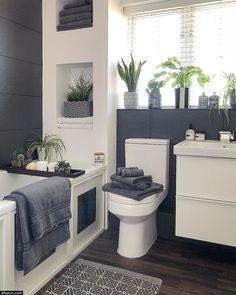 Dream Bathrooms, Beautiful Bathrooms, Small Grey Bathrooms, Luxurious Bathrooms, Modern Bathroom Design, Bathroom Interior Design, Gray And White Bathroom, Grey Bathroom Decor, Bathroom Ideas