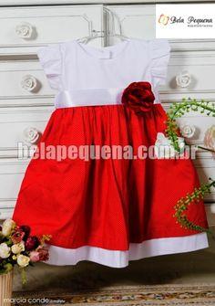 Vestido infantil de tricoline branco com vermelho de poá