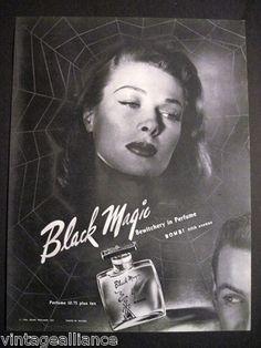 1946 Vintage BOMBI Black Magic Perfume Beautiful Girl in a Spider Web 40's Ad