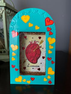 Vintage Mexican Sparkly Shadow Box 27 El Corazon Heart Loteria Card, Mexican Bingo 27 Lottery Card, This piece is Fabulous, Teal with Hearts
