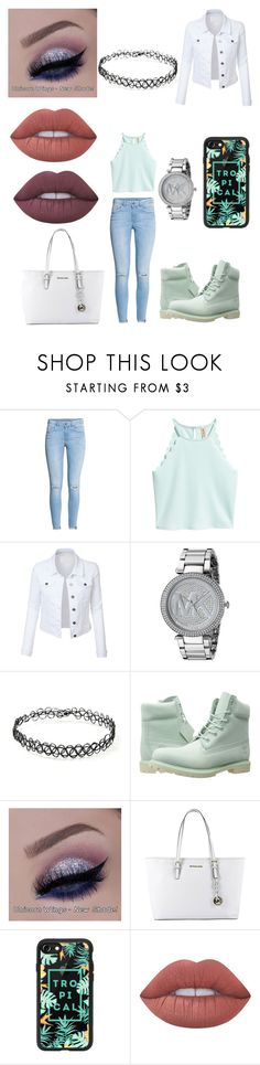 """""""Untitled #409"""" by alexponson ❤ liked on Polyvore featuring H&M, LE3NO, Michael Kors, Forever 21, Timberland, MICHAEL Michael Kors, Casetify and Lime Crime"""