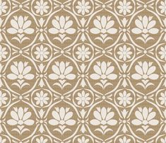Taupe Flower Damask fabric by natitys on Spoonflower - custom fabric
