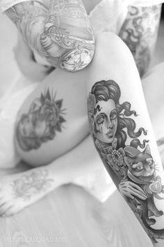 female, tattoo, black, white