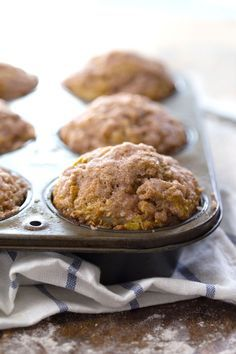 Healthy Cinnamon Sugar Apple Muffins - perfect as a healthy and super cozy fall breakfast or snack. 230 calories. | pinchofyum.com #apple #muffin #recipe #healthy