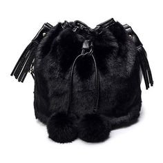 Pompon Tassel Furry Bucket Bag ($27) ❤ liked on Polyvore featuring bags, handbags, shoulder bags, www.zaful.com, blue shoulder bag, tassel handbag, blue handbags, blue purse and bucket bags