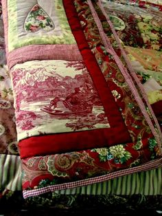 RESERVED - Valentine Quilt Shabby Chic French Style Toile and Hearts If you can be in love with a quilt, then I'm head over heels.