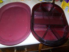 VINTAGE TUPPERWARE PRELUDIO 5 PC CRANBERRY ACRYLIC DIVIDED SERVING TRAY W/LID #Tupperware
