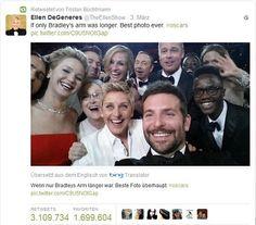 Oscar Selfie: Der Retweet-Rekord von Ellen DeGeneres