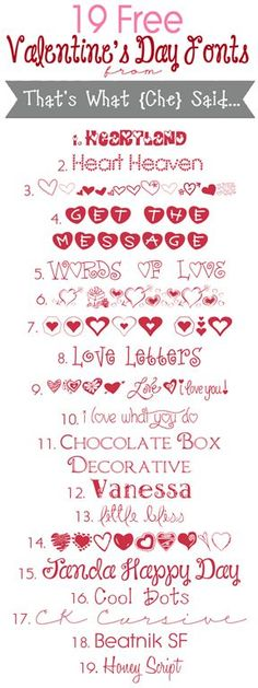 19 Free Fonts for Valentine's Day! Create fun printables and cards with these festive free fonts!