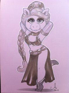 Miss Piggy Princess Leia. two of my favorite! Miss Piggy, Plus Size Art, Gothic Fantasy Art, Fraggle Rock, Muppet Babies, Twisted Disney, Jim Henson, Star Wars Humor, Disney Love