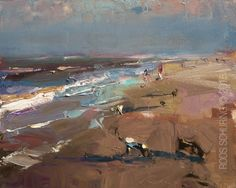 """New Blog Post: http://rosepleinair.com/seascape-summerish-light/ Seascape """"Summerish Light"""" I've painted the shoreline so many times, in all-weather, but there's something with that early morning brightness. Often it lasts a few hours. After it's definitely gone. The blues and the purples are so pure. Because the sky hasn't... View More at: http://rosepleinair.com #Beach, #Painting, #PleinairPainting, #PleinairPainting, #Roosschuring, #Seas"""
