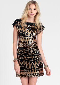Aztec God Sequined Dress