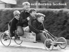 Image of Boys playing with a home-made go-kart, Horley, Surrey, from Impact Photos Old Pictures, Old Photos, Vintage Photos, Go Karts For Kids, Wooden Go Kart, Go Kart Kits, Robert Doisneau, Image Positive, Leave It To Beaver