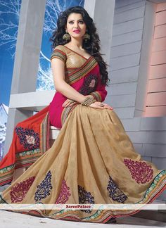 Beige & Pink Half Half Saree In Chiffon Jacquard Latest Indian Saree, Indian Silk Sarees, Indian Beauty Saree, Wedding Saree Collection, Designer Sarees Collection, Pink Beige, Orange Pink, Bollywood Fashion, Bollywood Actress