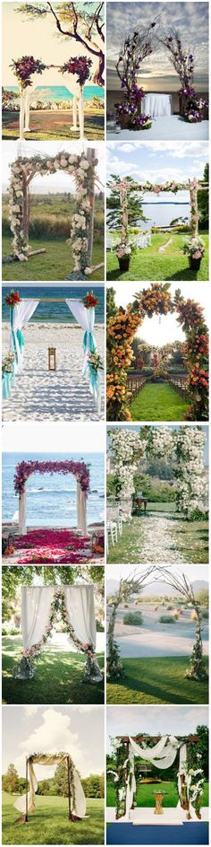 Unique wedding arch decoration ideas for indoor or outdoor weddings.