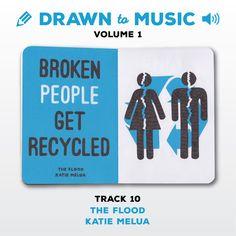 Drawn to Music - Volume 1 : Track 10 - The Flood by Katie Melua #sketchbookproject2017 #drawntomusic #volume1 #S164511 #halfandhalf #blackwhiteandblue #theflood #katiemelua
